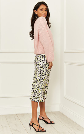 Katy bias satin midi skirt in Black and yellow floral by Nobody's Child