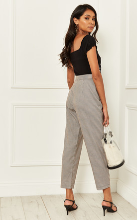 Peggy Houndstooth Trousers in Cream and Brown by Nobody's Child