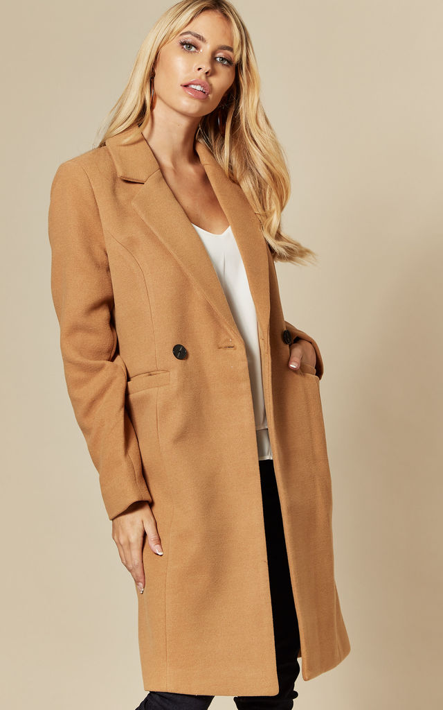 Double Breasted Longline Coat in Brown by VM