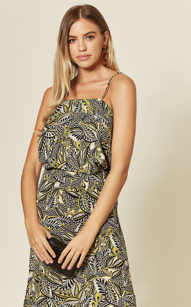 Yellow Leaf Print Strappy Flowy Top With Deep V Back by Off The Railz