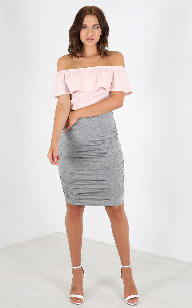 Elizabeth High Waisted Ruched Skirt In Grey by Oops Fashion
