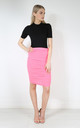 Elizabeth High Waisted Ruched Skirt In Neon Pink by Oops Fashion