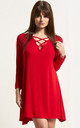 Red Lace Up Mini Swing Dress with Long Sleeves by Oops Fashion