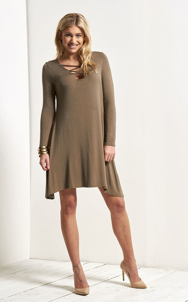 Khaki Lace Up Mini Swing Dress with Long Sleeves by Oops Fashion