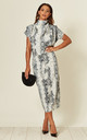 Gracie Short Sleeve Midi Dress in Snake Haze Print by House Of Lily