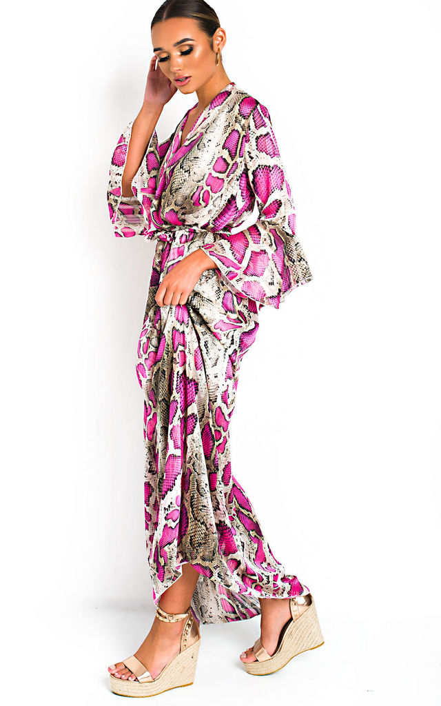 Loz Floaty Maxi Dress in Pink Snake Print by IKRUSH