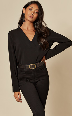 V Neck Long Sleeve Top In Black by VILA Product photo