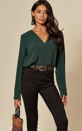 V Neck Long Sleeve Top In Green by VILA Product photo