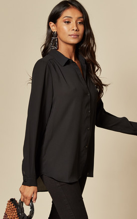 Button Front Shirt in Black by VILA