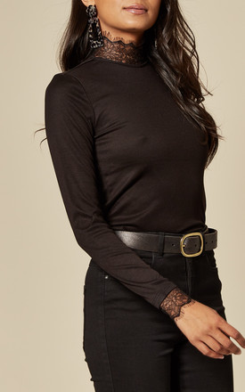 Fitted High Neck Top with Lace Trim in Black by Pieces