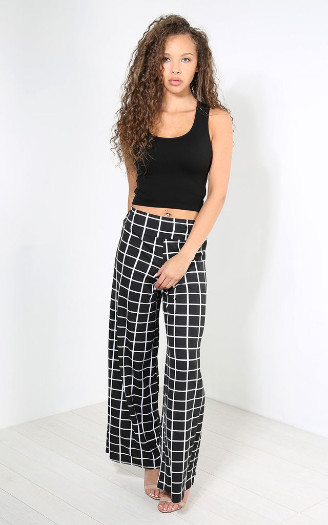 Breeze Wide Leg Trousers In Black Check by Oops Fashion
