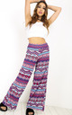Breeze Palazzo Pants In Red/Blue Aztec Print by Oops Fashion