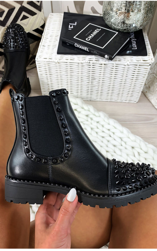 Black Studded Chelsea Ankle Boots by Larena Fashion