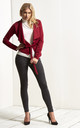 Daryl Waterfall Cropped Jacket In Wine Red by Oops Fashion