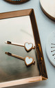 Cassie Love Heart Hair Slide in White/Gold by Ajouter Store