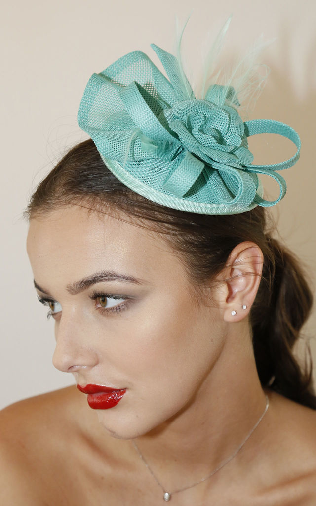 JUDEEN Linen Look Fascinator with Bow in Green by Ruby Rocks Boutique