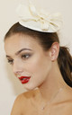 JIMENA Cream Fascinator with Faux Feather & Bow by Ruby Rocks Boutique