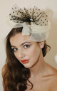 PENI Flower & Dotty Net Fascinator in Cream/Black by Ruby Rocks Boutique