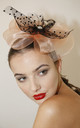 PEDRA Peach/Black Fascinator with Flowers & Dotty Net by Ruby Rocks Boutique