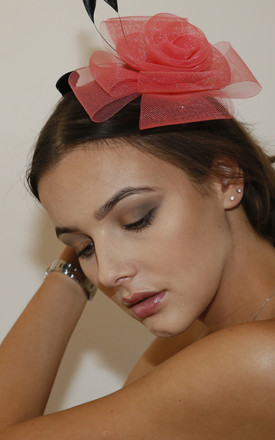 NORITA Flower & Faux Feather Fascinator in Red/Black by Ruby Rocks Boutique