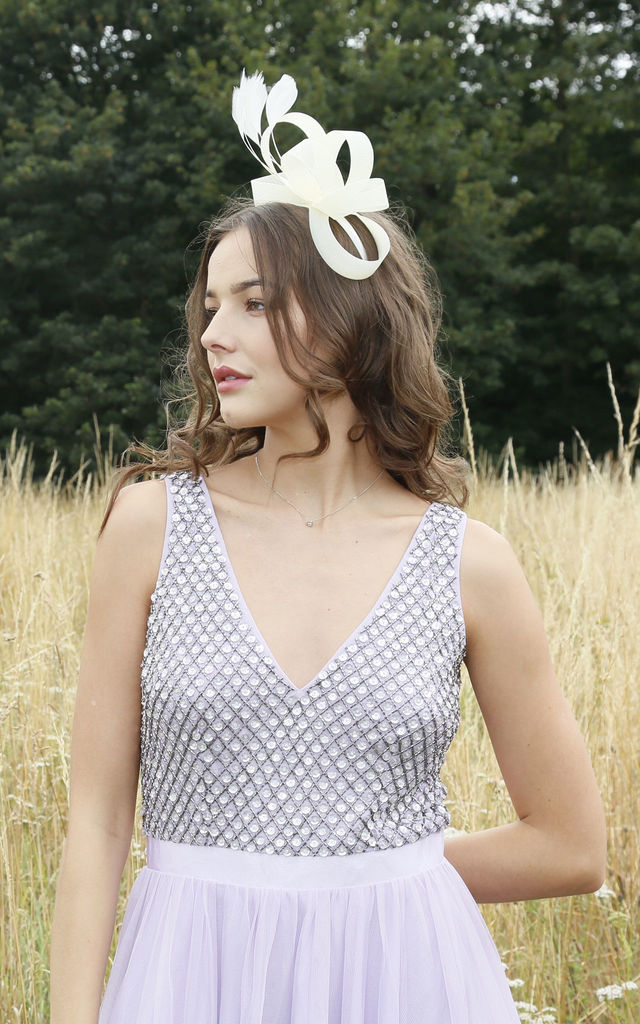 RAMONA Faux Feather & Ribbon Fascinator in Cream by Ruby Rocks Boutique