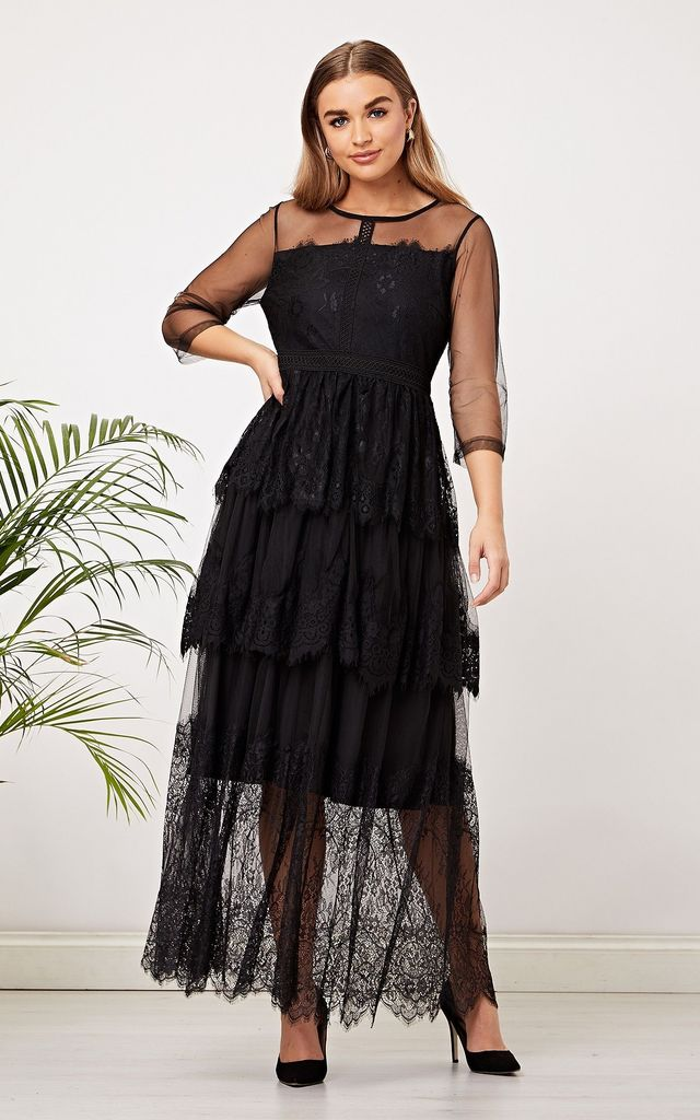 Black Lace Layered Maxi Dress by ANGELEYE