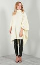 Alissia Roll Neck Knitted Poncho In Cream by Oops Fashion