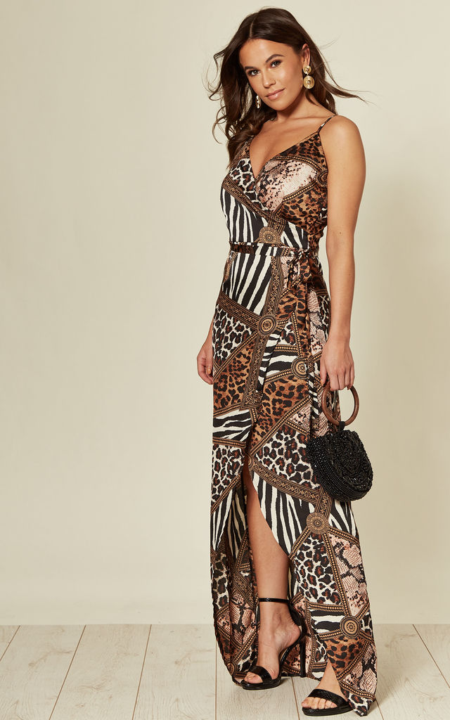 Mia Wrap Maxi Dress Brown Print by Girl In Mind