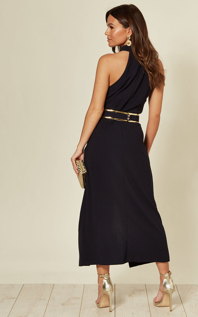 Kayla High Neck Front Split Midi Dress Navy by Girl In Mind