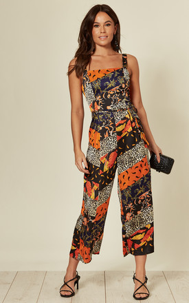 Kyrie Square Neck Tie Waist Jumpsuit Orange Paisley by Girl In Mind Product photo