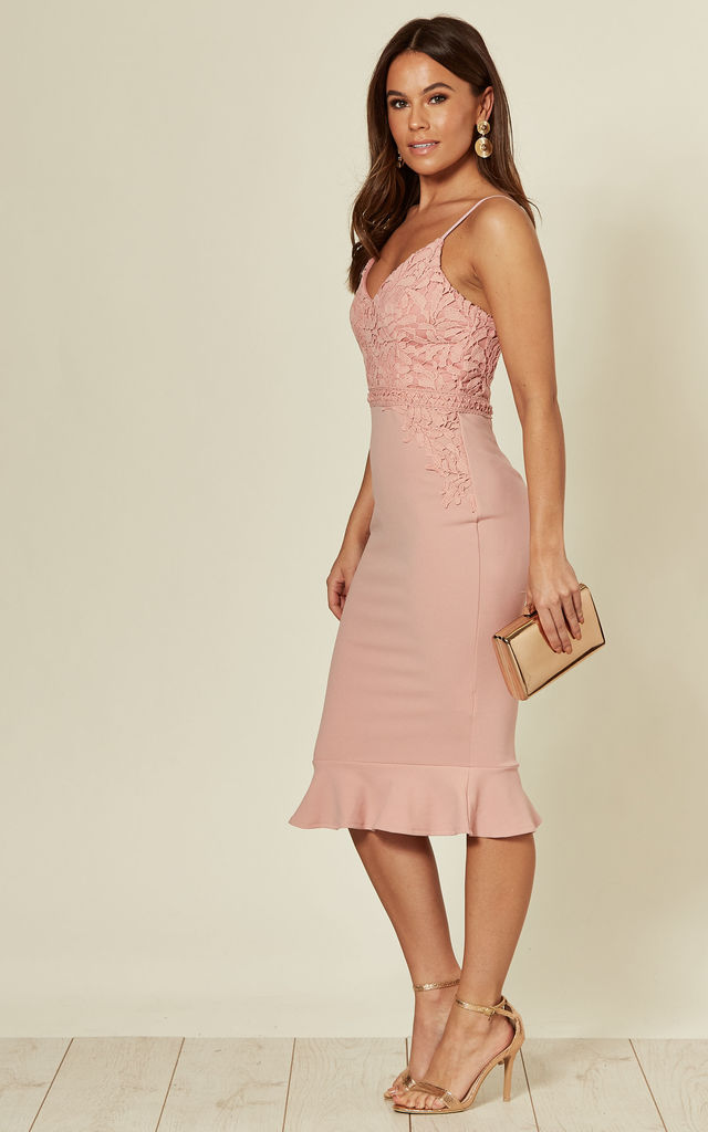 Carolina Lace Top Frill Hem Midi Dress Mauve by Girl In Mind