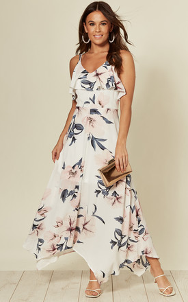 Evie Floral Print Cami Midi Dress White Grey by Girl In Mind Product photo