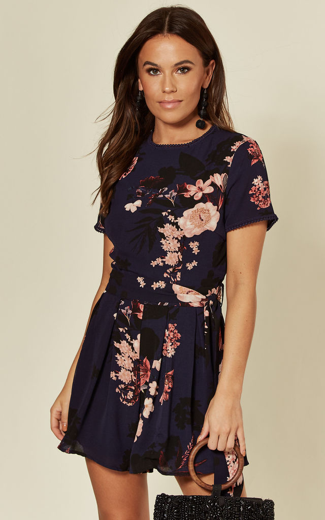 Gabby Trim Detail Floral Playsuit Navy by Girl In Mind