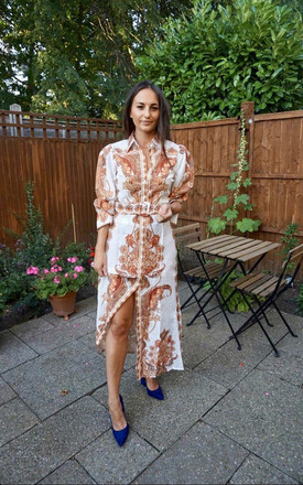 Maxi Shirt Dress In Orange Paisley Print by Styled Clothing Product photo