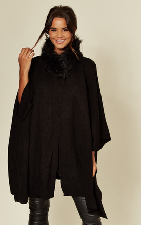 Taylor Faux Fur Collar Poncho Cape in Black by Faux