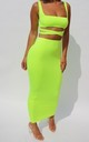 Co-Ord in Neon Yellow | Love Me Crop Top & Skirt by Nunude