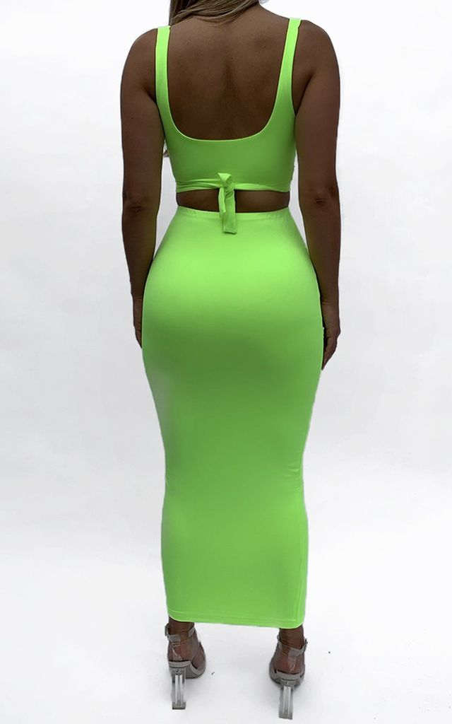 Co-Ord in Neon Green | Crop Top & Skirt by Nunude