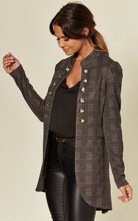 Grey Checkered Military Jacket by Mela London