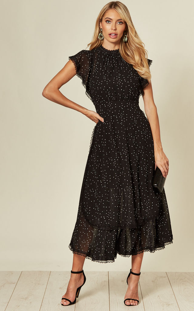 Black High Neck Layered Midi Dress with Lace Trim by LIENA