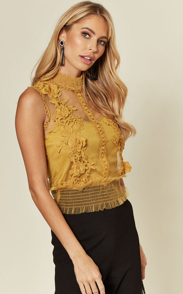 Mustard Mesh High Neck Top with Floral Applique by Off The Railz