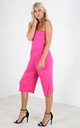 Mya Strapless Cropped Jersey Jumpsuit In Cerise by Oops Fashion