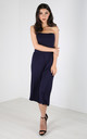 Mya Strapless Cropped Jersey Jumpsuit In Navy by Oops Fashion