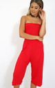 Mya Strapless Cropped Jersey Jumpsuit In Red by Oops Fashion