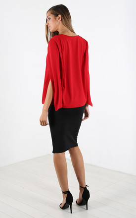 Cape Sleeve Scuba Blazer In Red by Oops Fashion