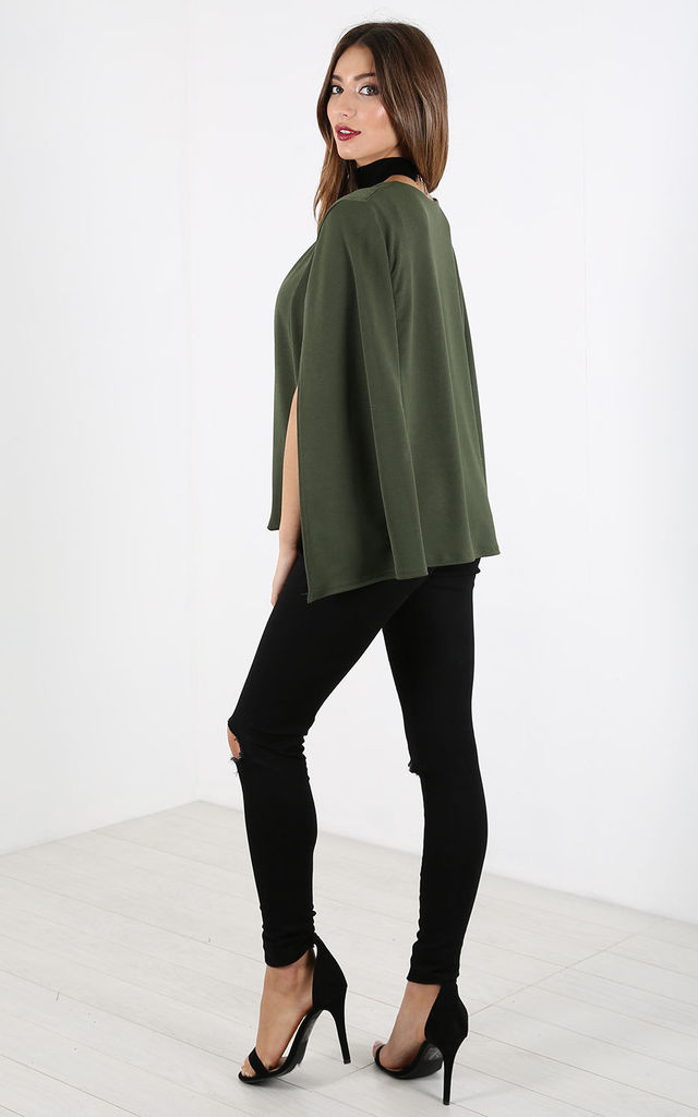 Cape Sleeve Scuba Blazer in Khaki by Oops Fashion