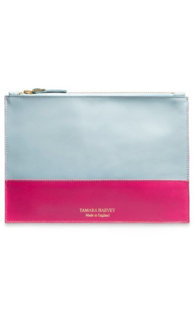 'GRACE' LIMITED EDITION Leather Clutch Bag in Duck Egg and Pink by Tamara Harvey