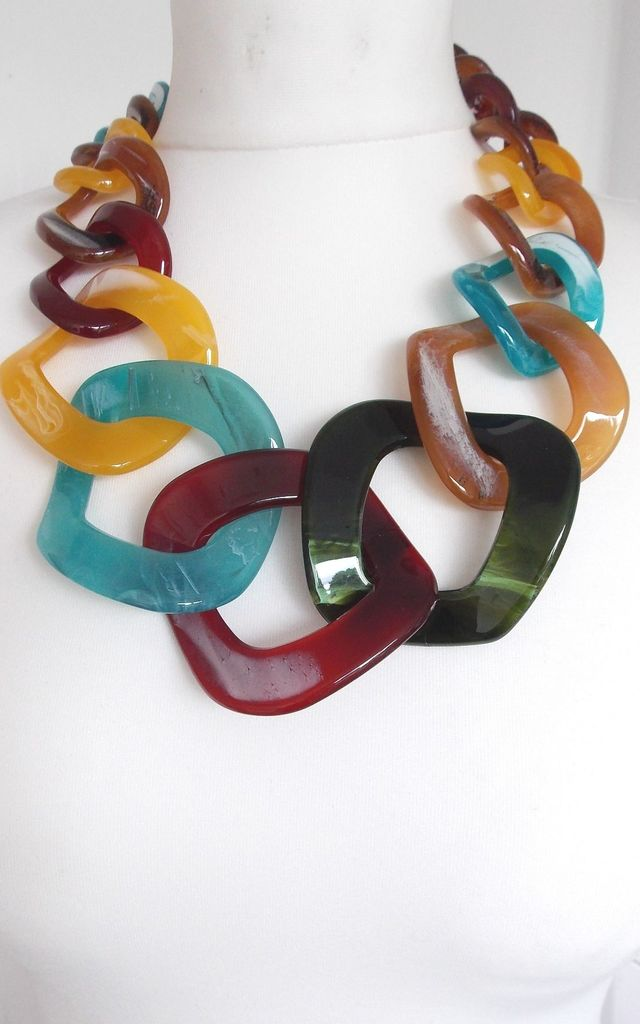Chunky Acrylic Chain Statement Necklace by Olivia Divine Jewellery