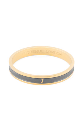 Grey/Gold Bangle with Personalised J Initial by Florence London