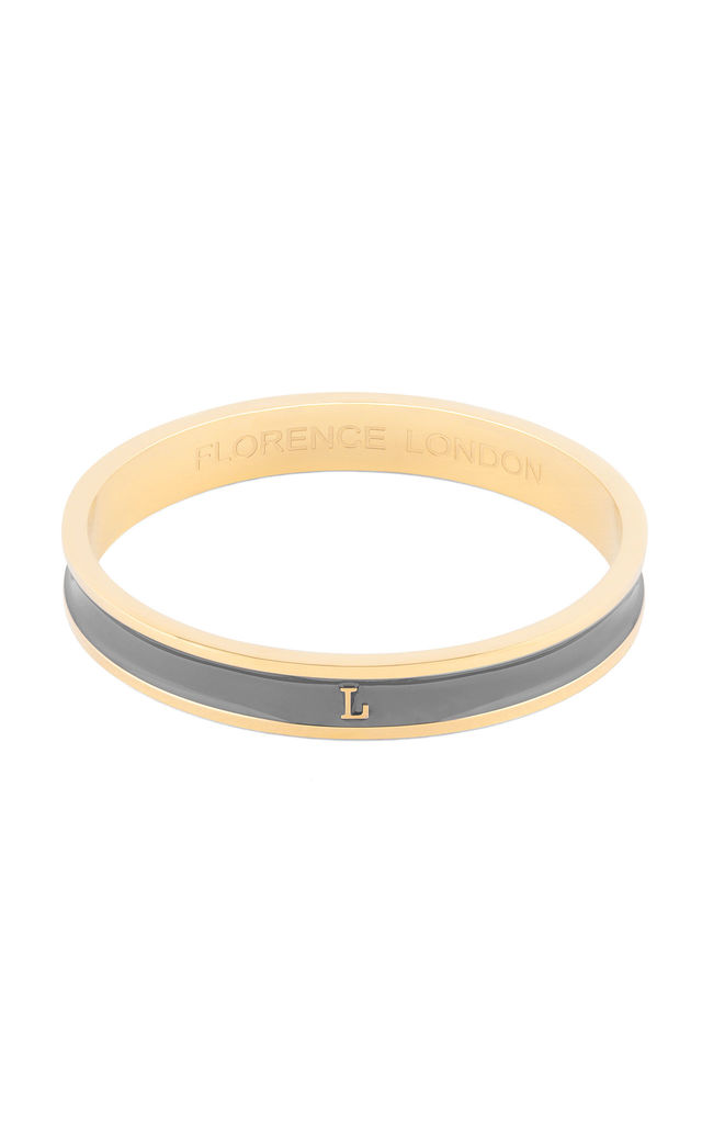 Grey/Gold Bangle with Personalised L Initial by Florence London