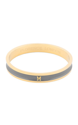 Grey/Gold Bangle with Personalised M Initial by Florence London